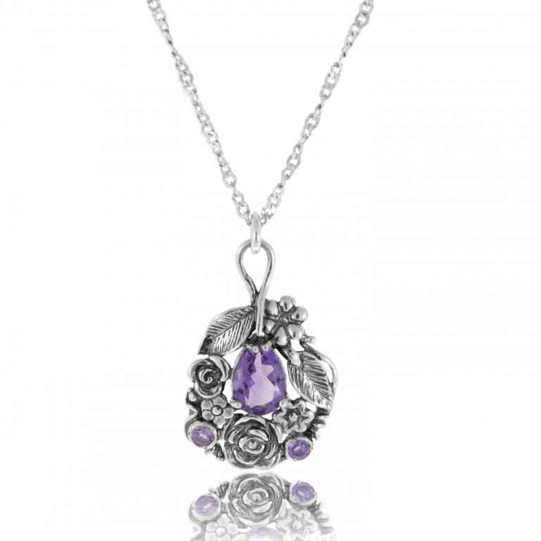 Details about  /New Shablool Jewelry Purple Amethyst rectangular 925 Sterling Silver Pendant